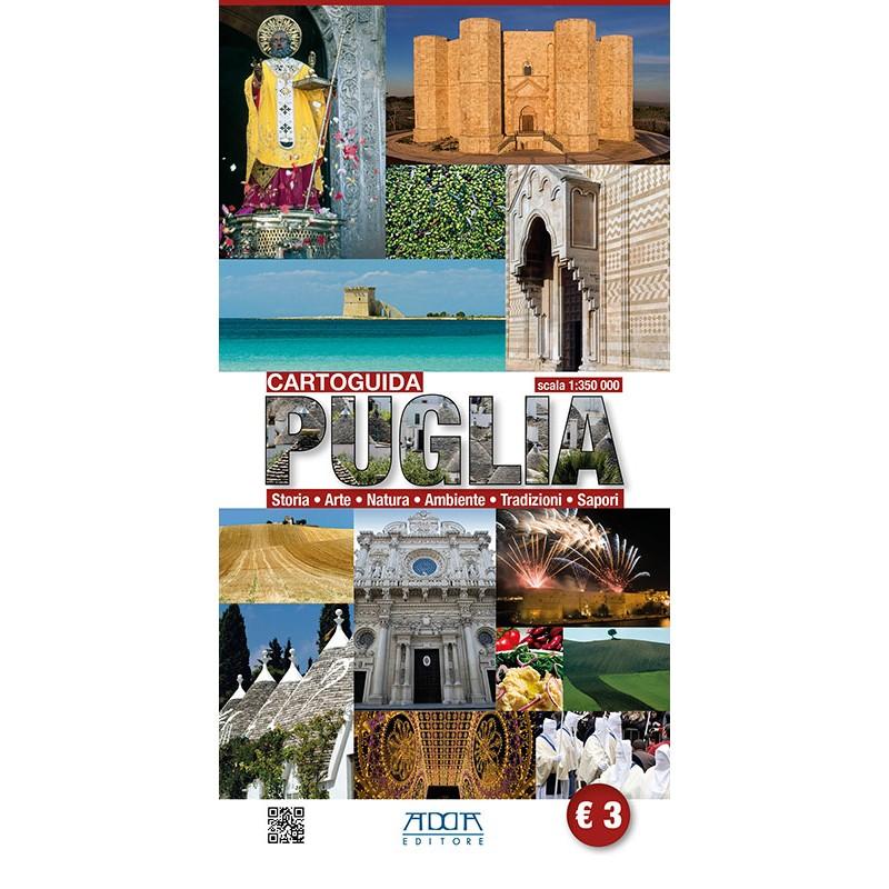 Cartina stradale con itinerari turistici della Puglia