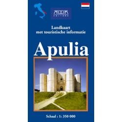 Puglia. Cartina stradale con itinerari turistici